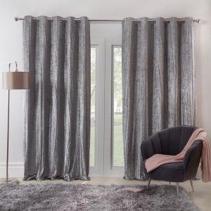 Sienna Home Valencia Crinkle Crushed Velvet Eyelet Curtains - Silver Grey