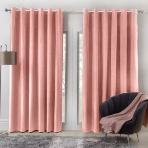 Sienna Home Capri Velvet Eyelet Curtains - Blush