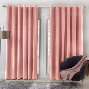 Sienna Home Capri Velvet Eyelet Curtains - Blush
