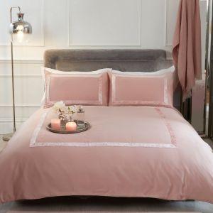 Sienna Crushed Velvet Border Duvet Set - Blush Pink