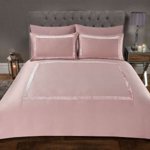 Sienna Crushed Velvet Border Duvet Set - Blush Pink