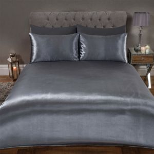 Sienna Plain Satin Duvet Cover Set - Silver Grey