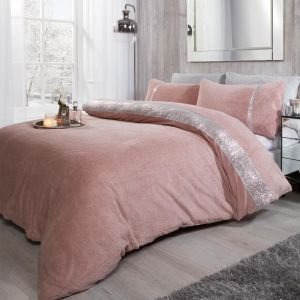 Sienna Teddy Diamante Duvet Cover Set - Blush