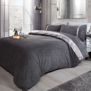 Sienna Teddy Diamante Duvet Cover Set - Charcoal