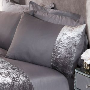 Sienna Crushed Velvet Band 4 Pack of Pillowcases - Silver Grey
