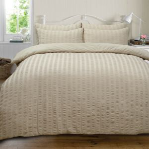 Highams Seersucker Duvet Set - Stone