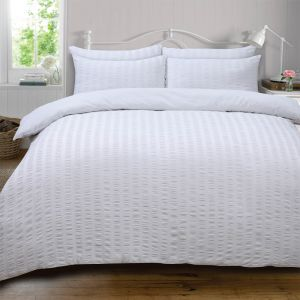 Highams Seersucker Duvet Set - White