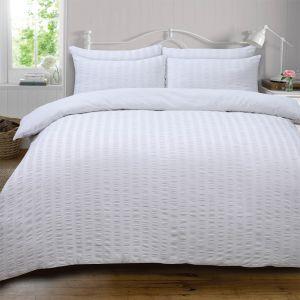 Ruffle Stripe Bedding Set - White