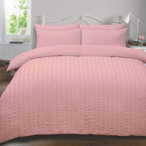 Highams Seersucker Duvet Cover Set - Blush Pink