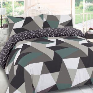 Dreamscene Geometric Shapes Duvet Cover - Black/Green
