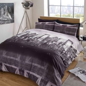 Dreamscene London Skyline Union Jack Duvet Cover Set - Charcoal