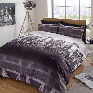 Dreamscene London Skyline Union Jack Duvet Cover Set - Charcoal