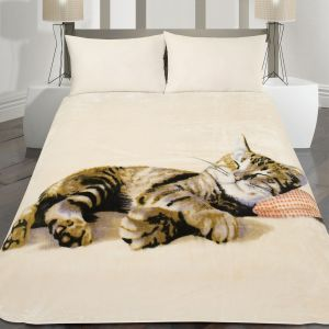 150X200Cm Printed Mink Throw Cat