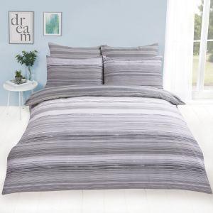 Dreamscene Speckle Stripe Duvet Cover Set - Grey