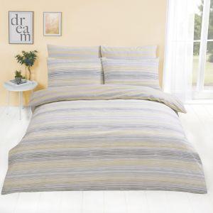 Dreamscene Speckle Stripe Duvet Cover with Pillowcase - Yellow