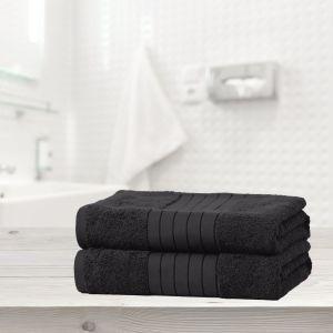 Luxury 100% Cotton 2 Jumbo Bath Sheets Large Towels Bale - Black