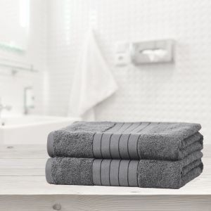Brentfords 100% Cotton 2 Bath Sheets Towel, Grey
