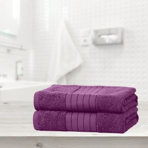 Luxury 100% Cotton 2 Jumbo Bath Sheets Large Towels Bale - Purple