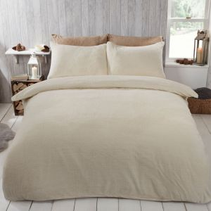 Brentfords Teddy Fleece Duvet Cover Set - Cream