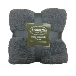 Teddy Fleece Throw - Charcoal Grey