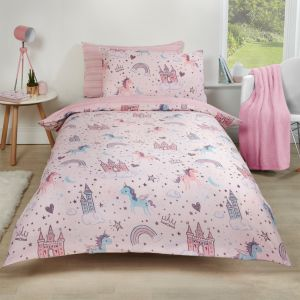 Dreamscene Unicorn Kingdom Duvet Set - Pink