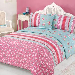 Verity Bed In A Bag Duvet Cover Set - Pink Green