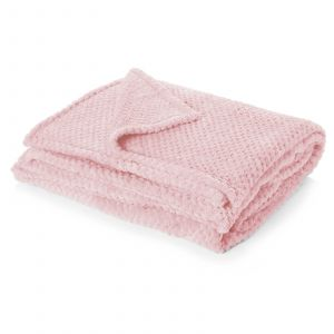 Textured Waffle Knit Throw - Blush Pink