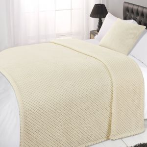 Textured Knit Throw - Cream