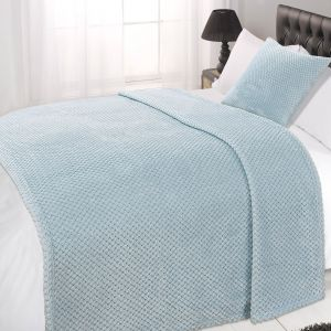 Textured Knit Throw - Duck Egg