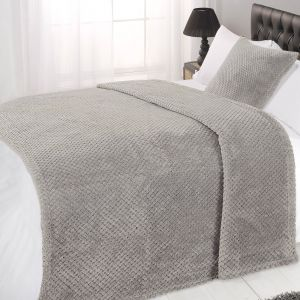 Textured Knit Throw - Grey