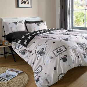 Walkies Pug Duvet Cover Set - Cream