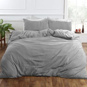 Brentfords Washed Linen Duvet Cover Set - Silver Grey