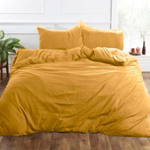 Brentfords Washed Linen Duvet Cover Set - Ochre Yellow
