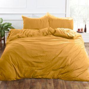Brentfords Washed Linen Duvet Cover Set - Ochre Yellow