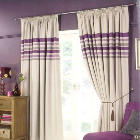 Pencil Pleat Striped Curtains - Aubergine