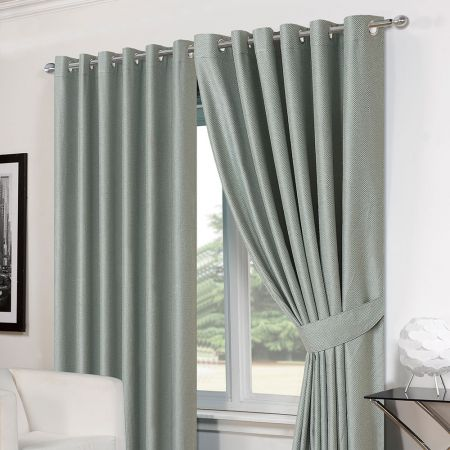 Luxury Basket Weave Lined  Eyelet Curtains with Tiebacks - Duck Egg 66