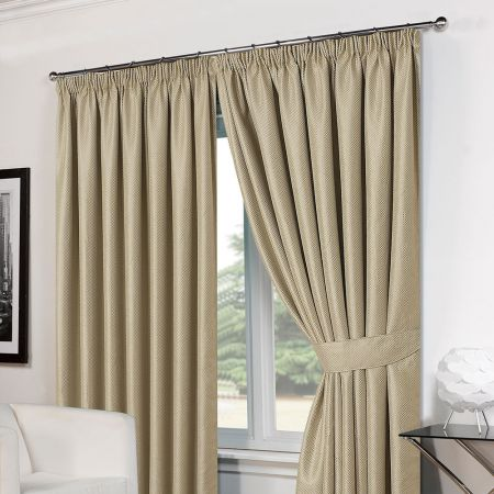 Basket Weave Tape Top Curtains - Beige
