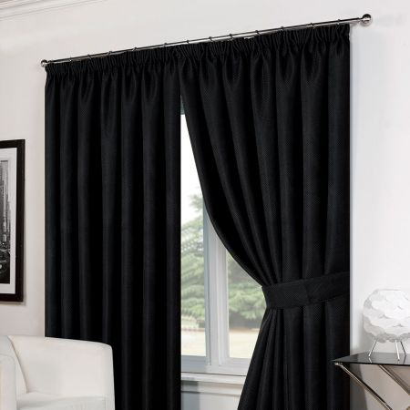 Basket Weave Tape Top Curtains - Black