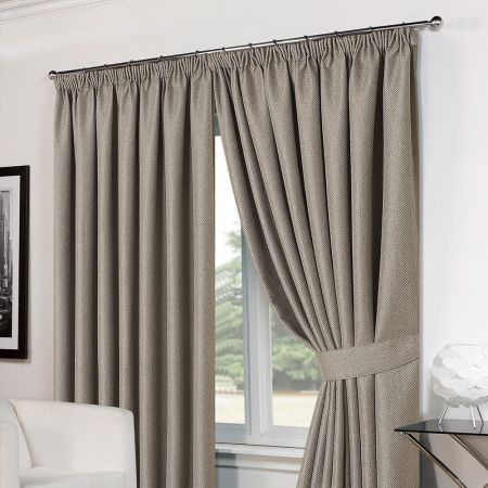 Basket Weave Tape Top Curtains - Silver Grey