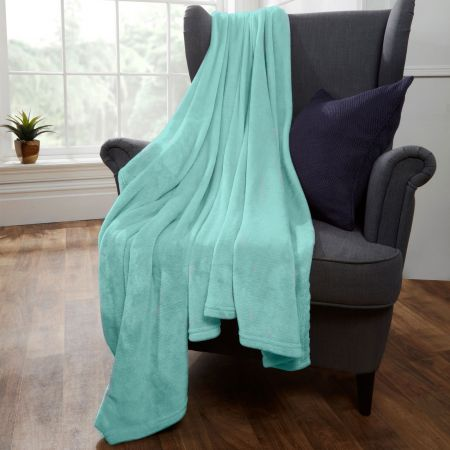 Brentfords Supersoft Throw, Duck Egg Blue - 200 x 200cm