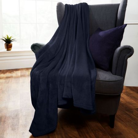 Brentfords Supersoft Throw, Navy Blue - 120 x 150cm