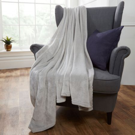 Brentfords Supersoft Throw, Silver Grey - 150 x 200cm