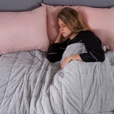Brentfords Teddy Fleece Weighted Blanket - Silver Grey