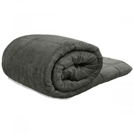 Brentfords Velvet Weighted Blanket, Charcoal - 200 x 240cm - 9KG