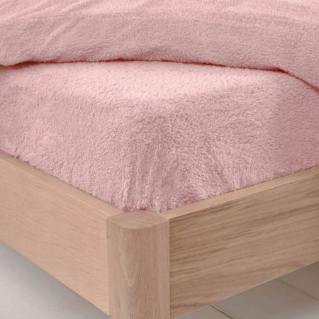 Brentfords Teddy Fleece Fitted Sheet - Blush Pink
