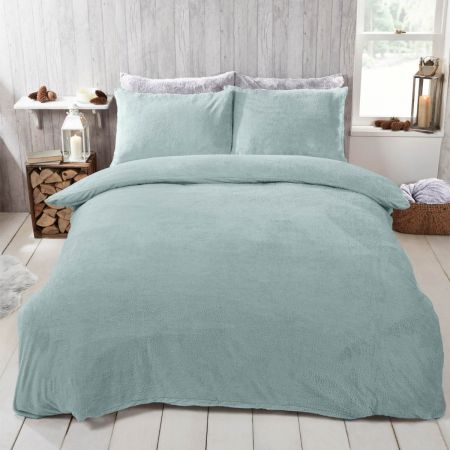 Brentfords Teddy Fleece Duvet Cover Set - Duck Egg
