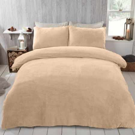 Brentfords Teddy Fleece Duvet Cover Set - Sand Beige