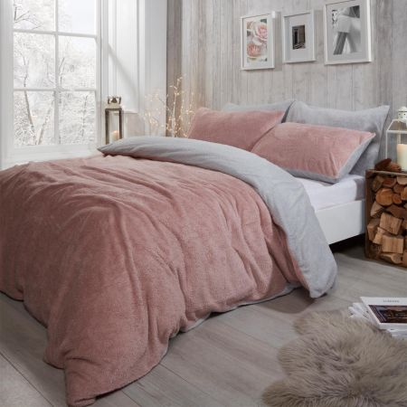 Brentfords Teddy Fleece Reversible Duvet Cover Set - Blush Pink/Grey