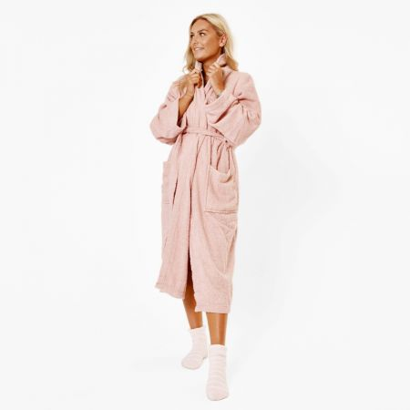 Brentfords Luxury 100% Cotton Dressing Gown - Blush Pink