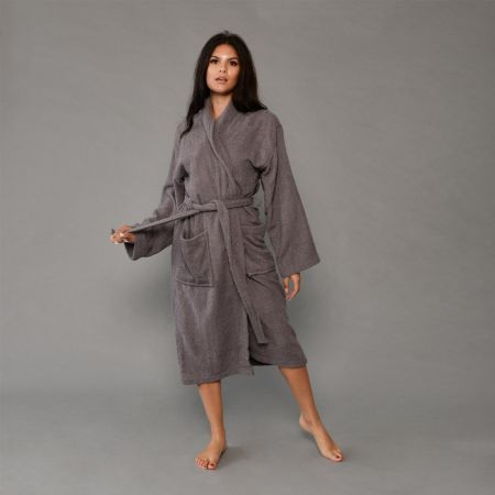 Brentfords Luxury 100% Cotton Dressing Gown - Charcoal Grey